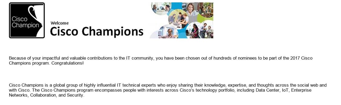 Cisco Champions Announcement